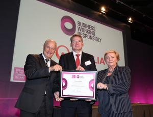 Niall Gleeson, Veolia Ireland, receives the Responsible Business Mark from BITC Ireland