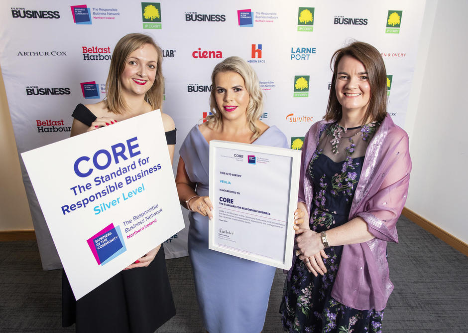 Veolia NI being presented with Silver CORE accreditation from BITC NI